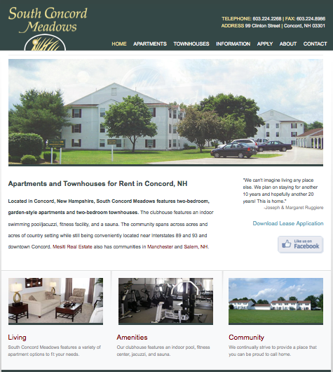 Apartment web design south concord meadows website for Apartment web design