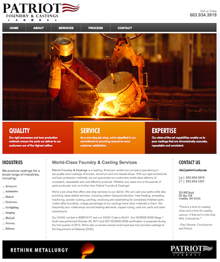 Leading N H  Foundry Launches Website by Danconia Media